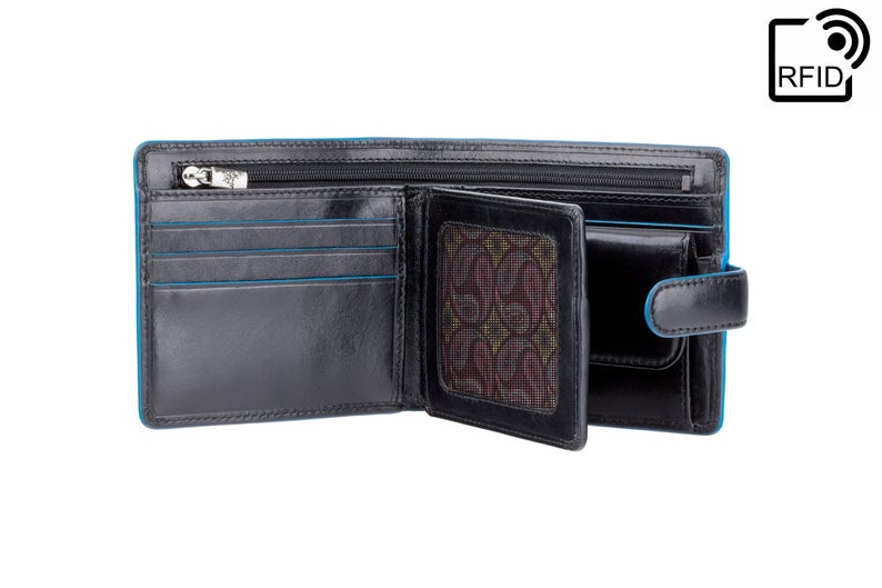 VISCONTI - Black Wallet Leather RFID - ALP86 - Black Blue Wallet - Card and Coin Wallet - Card Holder - Gift Boxed - Mens Wallet