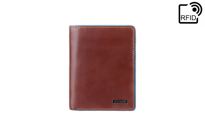 VISCONTI - Brown Leather Wallet With RFID - ALP87 - Brown Blue Wallet - Card and Coin Wallet - Card Case - Veg Tan - Mens Wallet
