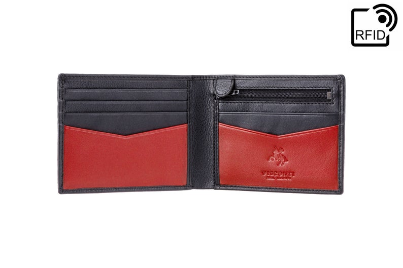 VISCONTI - Slim Leather Wallet with RFID - Black Red - Card Holder Wallet - Coin Holder Wallet - Leather Wallets for Men - VSL20 - Premium