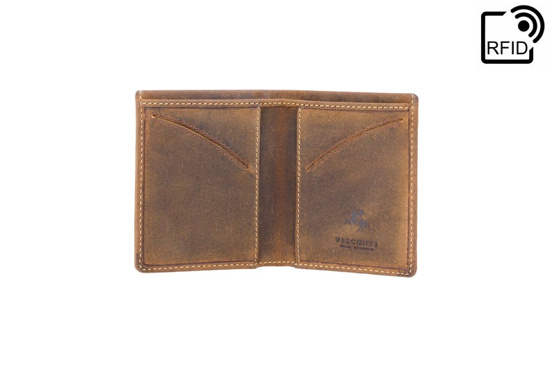 VISCONTI - RFID Slim Leather Wallet - Oiled Tan - Card Holder Wallet - Minimalist Wallet - Leather Wallets for Men - VSL21 - Gift Boxed