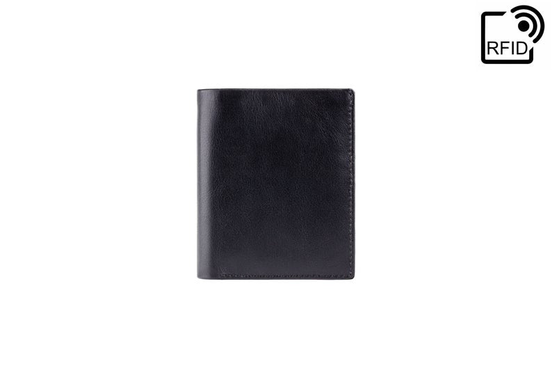 VISCONTI - RFID Slim Leather Card Holder - Black Red - Cardholder Wallet - Minimalist Wallet - Leather Wallets for Men - VSL26 - Bifold