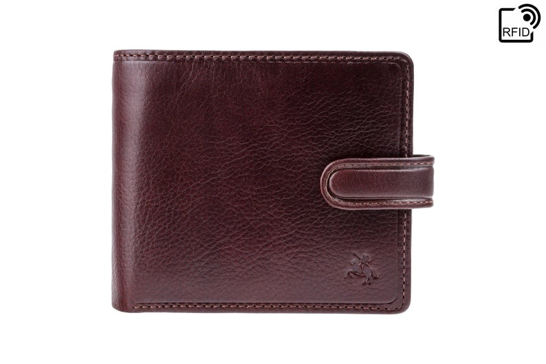 VISCONTI - Luxury Brown Leather Wallet with RFID Protection - Button Close Wallet - Wallets for Men - Veg Tan Premium Leather - TSC42