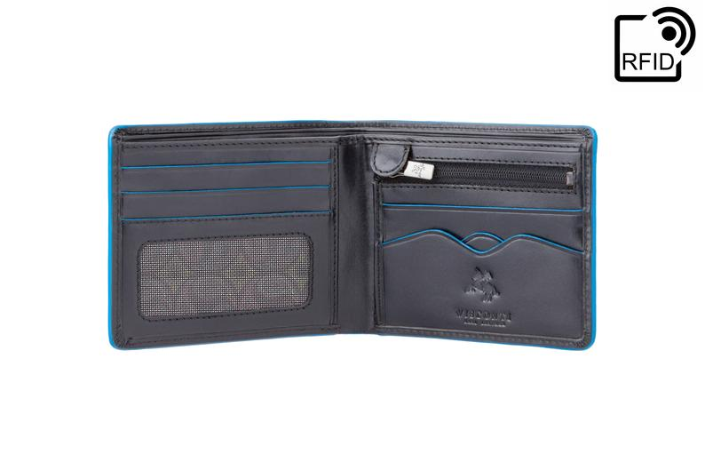 VISCONTI - Black Wallet Leather RFID - ALP85 - Black Blue Wallet - Card and Coin Wallet - Slim Wallets - Best Selling Design - Mens Wallet
