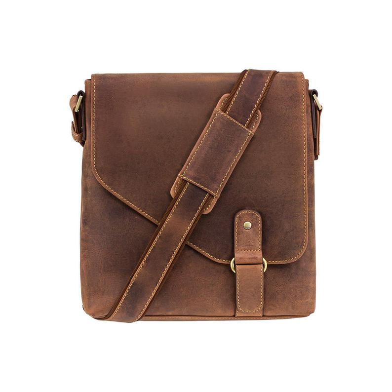 VISCONTI Leather Cross Body Bag - Leather Bag - Messenger Bag - Flapover Bag - Distressed Leather - Handmade Bag - Oiled Tan