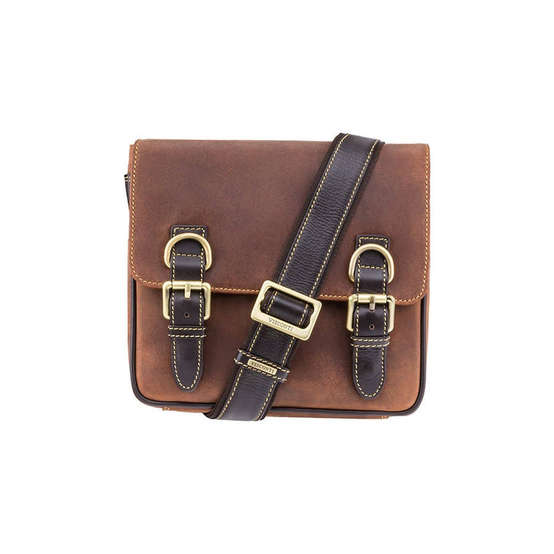 VISCONTI Leather - Rumba - Tan Bag - Leather Across Body Bag - Messenger Bag - Bag with Buckles - Small Leather Bag - Distressed Leather