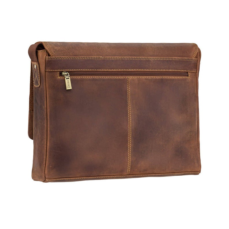 VISCONTI 18516 - Tan Leather Bag - Hunters Collection - Distressed Leather Messenger Bag - Handmade Bag - Across Body Bag - Flapover Bag