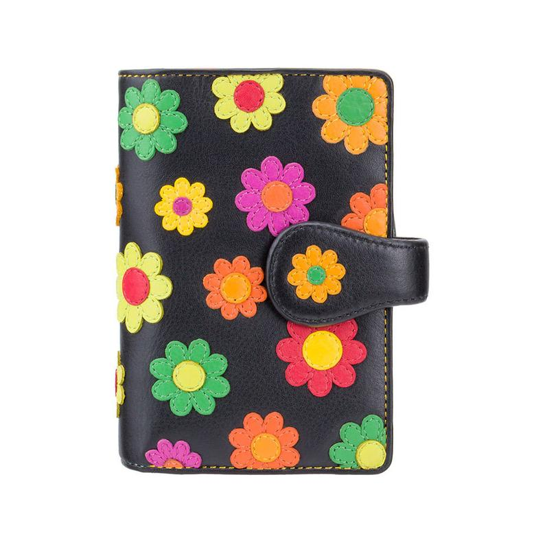 Flower Leather Purse Wallet - Ladies Real Leather Wallet - Woman Wallets - RFID Purse - Button Close Purse - [Best Seller] - DS82 - VISCONTI