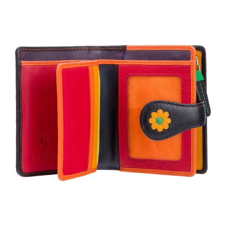 VISCONTI Flower Designer Purse - Ladies Purse - Womens Wallet - Genuine Leather RFID - DS80 - Button Close Purse - Handmade