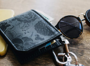 Leather floral pattern wallet, gift for men, unique wallet, leather wallet, interesting wallet, bifold wallet, colorful wallet, cool wallet