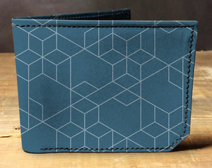 Leather blue geometric wallet, gift for men, unique wallet, leather wallet, interesting wallet, bifold wallet, colorful wallet, cool wallet