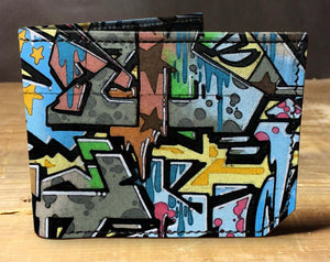 Leather graffiti wallet, gift for men, unique wallet, leather wallet, interesting wallet, bifold wallet, colorful wallet, cool wallet