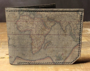 Leather world map wallet, gift for men, unique wallet, leather wallet, interesting wallet, bifold wallet, colorful wallet, cool wallet
