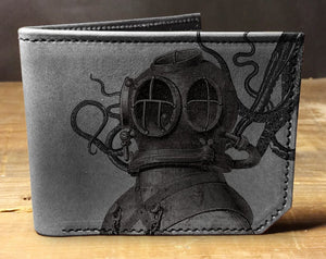Open image in slideshow, Mens leather wallet, Mens wallet, diver octopus wallet, leather wallet, slim wallet, back to school, leather wallet mens, bifold wallet