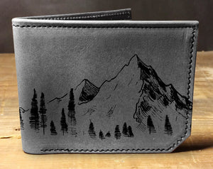 Mens leather wallet, Mens wallet, mountain wallet, leather wallet, slim wallet, back to school, leather wallet mens, bifold wallet