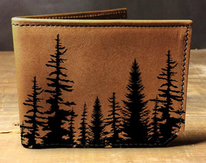 Open image in slideshow, Mens leather wallet, Mens wallet, trees wallet, leather wallet, slim wallet, forest wallet, aspen wallet, bifold wallet, brown wallet