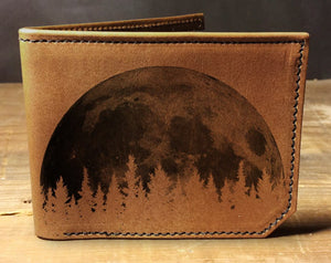 Open image in slideshow, Mens leather wallet, Mens wallet, moon wallet, leather wallet, slim wallet, back to school, leather wallet mens, bifold wallet