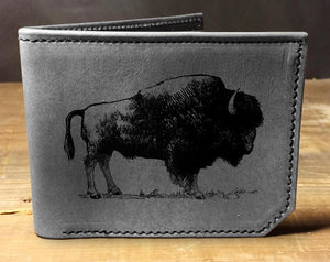 Open image in slideshow, Mens leather wallet, Mens wallet, buffalo wallet, leather wallet, slim wallet, back to school, leather wallet mens, bifold wallet, bison
