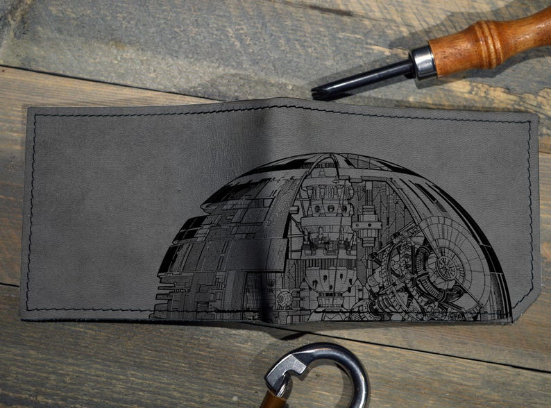 Mens leather wallet, Mens wallet, death star wallet, leather wallet, star wars wallet, back to school, leather wallet mens, bifold wallet