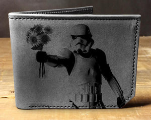 Open image in slideshow, Mens leather wallet, Mens wallet, stormtrooper wallet, leather wallet, slim wallet, back to school, leather wallet mens, bifold wallet