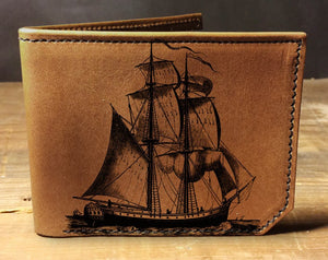 Open image in slideshow, Mens leather wallet, Mens wallet, sailboat wallet, leather wallet, slim wallet, back to school, leather wallet mens, bifold wallet