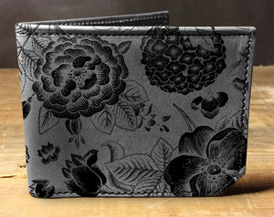 Open image in slideshow, Mens leather wallet, Mens wallet, floral pattern wallet, leather wallet, slim wallet, back to school, leather wallet mens, bifold wallet