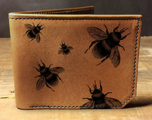 Mens leather wallet, Mens wallet, bees wallet, leather wallet, slim wallet, back to school, leather wallet mens, bifold wallet
