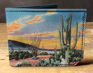Leather desert cactus wallet, gift for men, unique wallet, leather wallet, interesting wallet, bifold wallet, colorful wallet, cool wallet