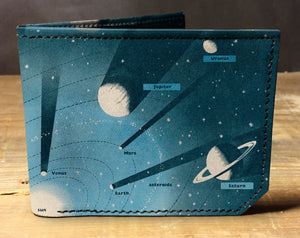 Leather planets wallet, gift for men, unique wallet, leather wallet, interesting wallet, bifold wallet, colorful wallet, cool wallet