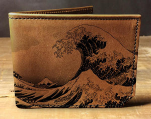 Open image in slideshow, Mens leather wallet, Mens wallet, waves wallet, leather wallet, japan wallet, back to school, leather wallet mens, bifold wallet