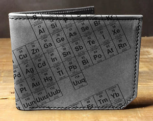 Mens leather wallet, Mens wallet, periodic table wallet, leather wallet, slim wallet, back to school, leather wallet mens, bifold wallet