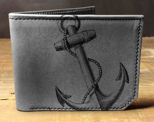 Mens leather wallet, Mens wallet, anchor wallet, leather wallet, slim wallet, back to school, leather wallet mens, bifold wallet