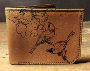 Open image in slideshow, Mens leather wallet, Mens wallet, birds wallet, leather wallet, slim wallet, back to school, leather wallet mens, bifold wallet
