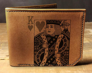 Mens leather wallet, Mens wallet, king of hearts wallet, leather wallet, slim wallet, suicide king, leather wallet mens, bifold wallet