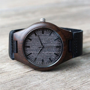 Personalized Ebony Wooden Watch with Optional Wooden Box, Engraved Mens Watch, Custom Groomsman Gift, Gifts for Him, Father Gift, Mens Gift