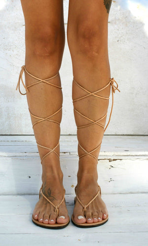 Open image in slideshow, AGAPE genuine leather gladiator sandals