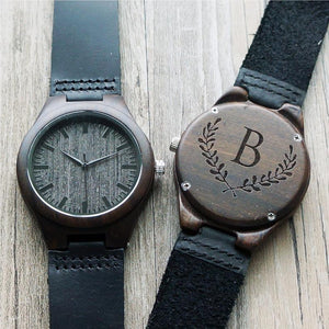 Open image in slideshow, Personalized Ebony Wooden Watch with Optional Wooden Box, Engraved Mens Watch, Custom Groomsman Gift, Gifts for Him, Father Gift, Mens Gift