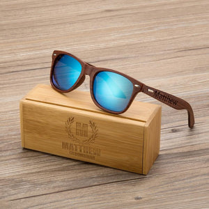 Open image in slideshow, Personalized Walnut Wood Wooden Sunglasses, Engraved Unisex Sunglasses, Wooden Box, Mens Gift, Groomsmen Gift, Groomsmen Sunglasses