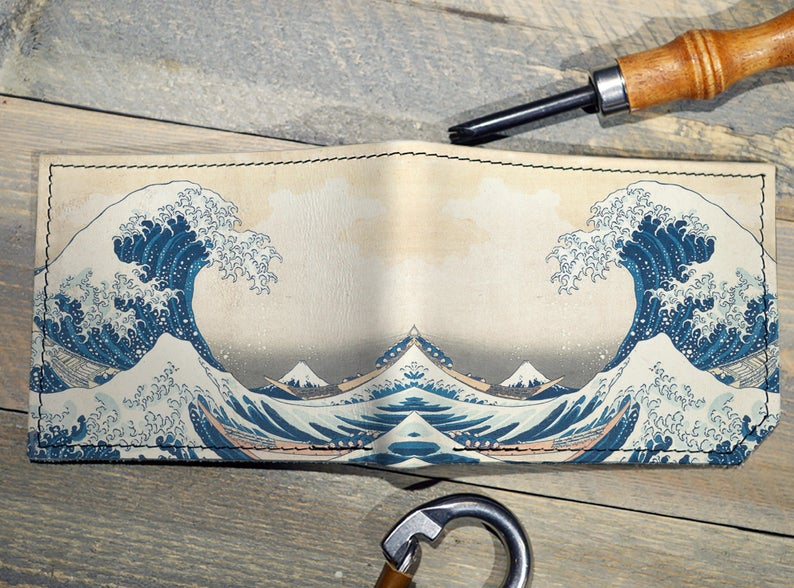 The Great Wave wallet, gift for men, unique wallet, leather wallet, interesting wallet, bifold wallet, colorful wallet, cool wallet