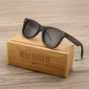 Personalized Polarized Bamboo Wood Sunglasses Wooden Sunglasses, Engraved Unisex Sunglasses, Mens Gift, Groomsmen Gift, Groomsmen Sunglasses