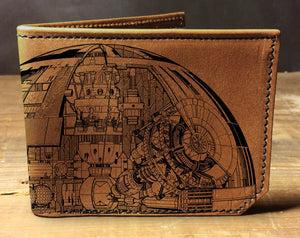 Open image in slideshow, Mens leather wallet, Mens wallet, death star wallet, leather wallet, star wars wallet, back to school, leather wallet mens, bifold wallet