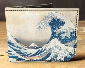 Open image in slideshow, The Great Wave wallet, gift for men, unique wallet, leather wallet, interesting wallet, bifold wallet, colorful wallet, cool wallet