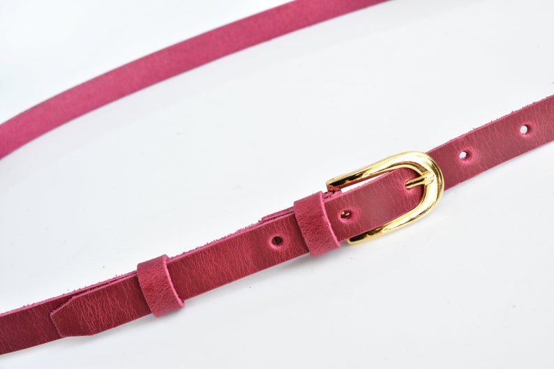 Skinny leather belt 0.6inch