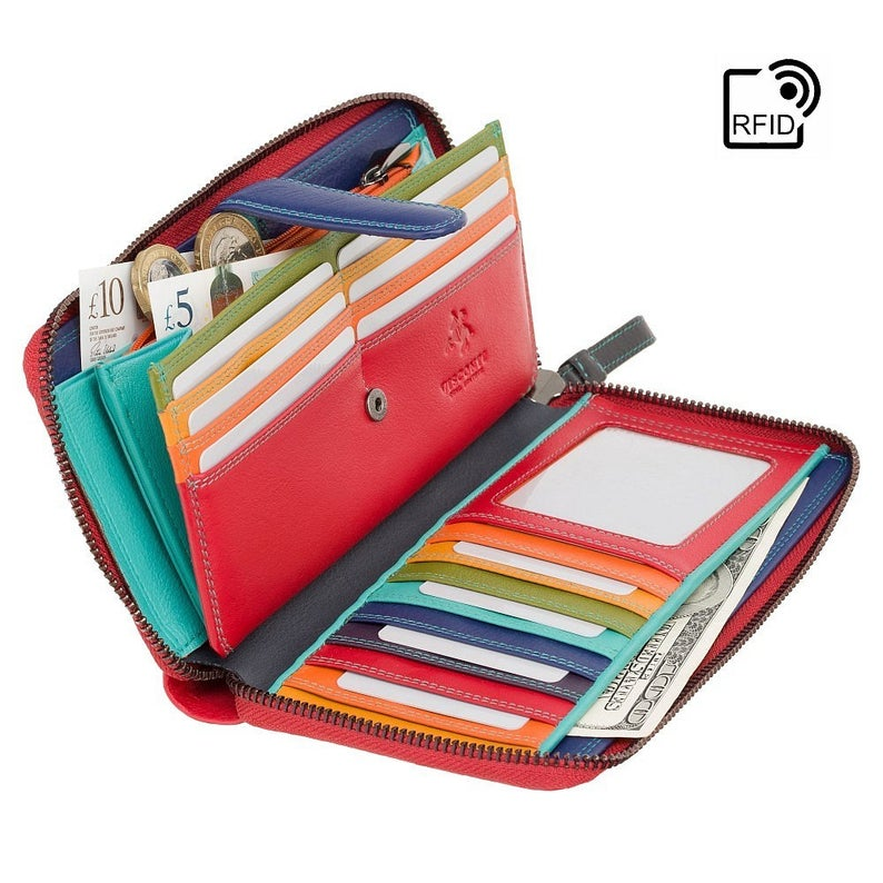 VISCONTI RED Ladies Wallet - Womens Zip Around Leather Purse - RFID Blocking Purse - Colorful Purses - SP33