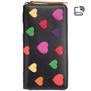 Love Collection From VISCONTI - Heart Zip Around Purse For Women Handmade From Premium Leather - RFID Protected Ladies Wallets - Passion