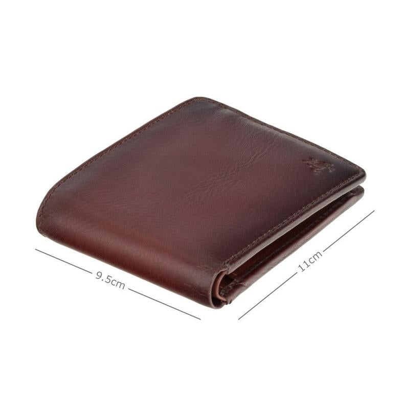 VISCONTI Burnished Tan Leather Wallet - Handmade Wallet With Cash, Card and Coin Section - Designed Billfold Wallet For Men - Arthur AT60