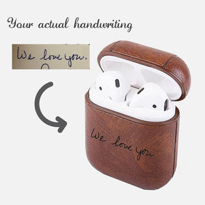 Personalized AirPods 1 Case Keychain - Any Handwriting or Signature Engraved on Brown/Red/Blue PU Leather [Support Wireless Charging] - United Split