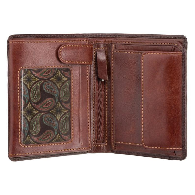 Burnished Tan Large Leather Wallet - Handmade Wallet With Cash, Card and Coin Section - Bifold Wallet For Men - VISCONTI Hector AT62