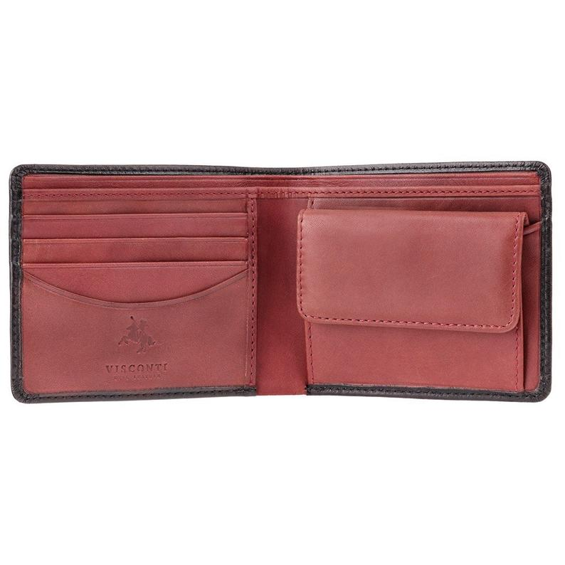 Black & Red Mens Cash + Coin Leather Wallet by VISCONTI - RFID Blocking Wallet Handmade From Premium Veg Tan Leather - TR30 Raffle
