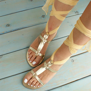 AMARYLLIS GOLD sandals Greek leather sandals