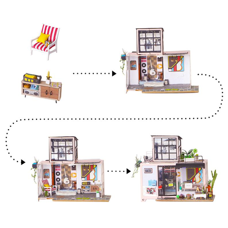 DIY Wooden Miniature Doll House Furniture Kit DIY Project Woodcraft Construction Kit Mini House Crafts: Kevin's Studio DG13